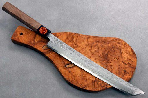 """סכין סושי/פריסה (טאקוהיקי מארו) קאזויוקי 270מ""""מ VG10 Damascus"""
