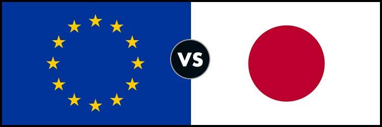 דגל יפן מול דגל האיחוד האירופי