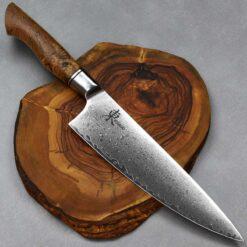"""סכין שף (גיוטו) היגאשי 210מ""""מ 10Cr15CoMoV Spalted"""