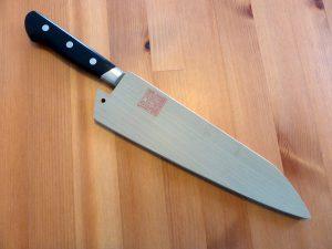 Kanetsune Nashiji Hammered Chef's Knife 200mm AOGAMI #2 Saya 2