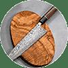 סכין מטבח יפני בגימור דמשק מבית שירו קאמו