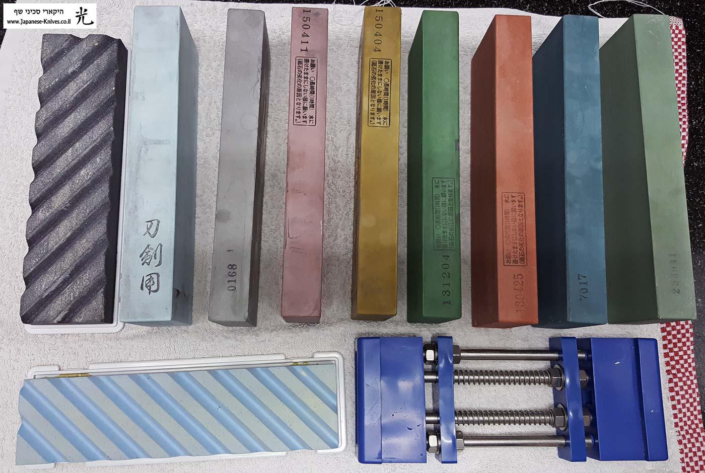 שירות השחזה מקצועית לסכין על גבי אבני מים יפניות סנטטיות