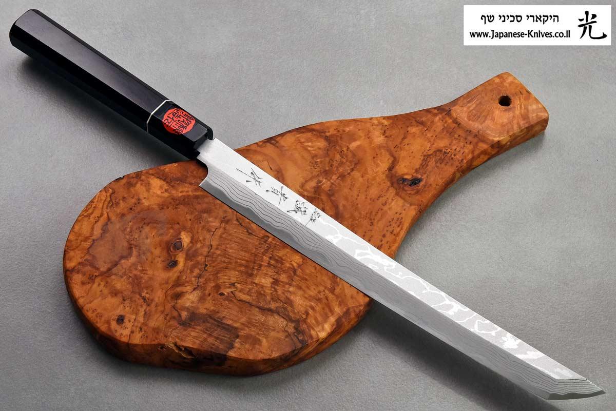 """סכין סושי (טאקוהיקי מארו) קאזויוקי 270מ""""מ Aogami#2 Damascus"""