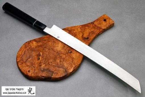 """סכין סושי (טאקוהיקי מארו) קאזויוקי 330מ""""מ VG10 Damascus"""
