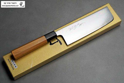 """סכין ירקות (נקירי) יאמאוואקי 165מ""""מ Aogami Super"""