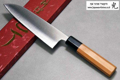 """סכין שף (סנטוקו) יאמאוואקי 165מ""""מ Aogami Super"""