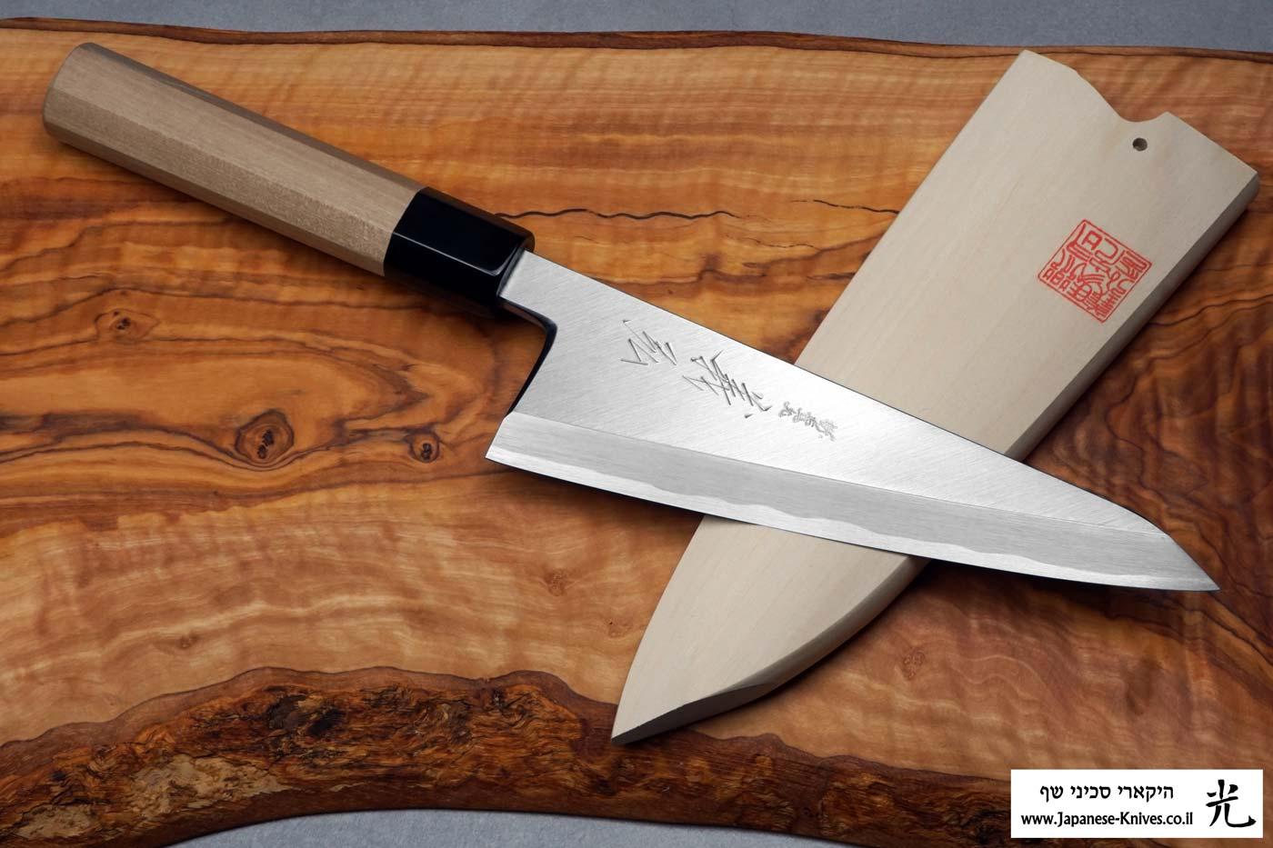 """סכין פירוק בשר (גאראסוקי) יאמאוואקי 180מ""""מ Shirogami#2"""