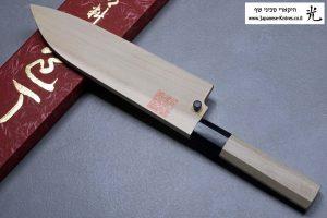 """מגן עץ (Saya) לסכין שף (סנטוקו) יאמאוואקי 165מ""""מ Aogami Super"""
