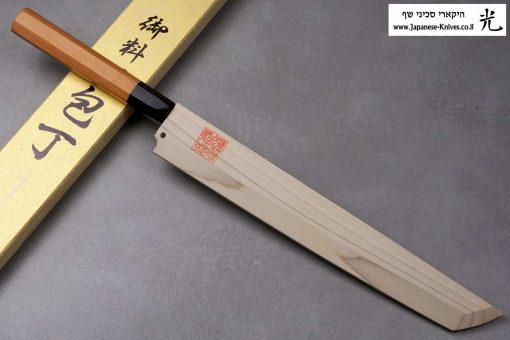 """סכין סושי (טאקוהיקי מארו) יאמאוואקי 270מ""""מ Aogami#1 Suminagashi"""