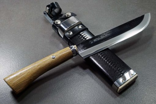 """סכין שטח אזומה סיוסאקו 180מ""""מ Aogami#2 3"""